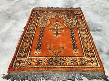 Authentic Hand Knotted Vintage Belgium Silk Area Rug 1.10 x 1.5 Ft (2737 Kbn)