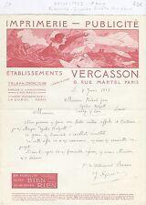 Paris X ème - Superbe Entête Art Déco Imprimerie - Publicité VERCASSON de 1923