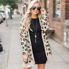 US Women's Cardigan Sweater Leopard Print Open Front Long Sleeve Loose Coat Tops