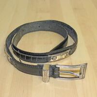 Vintage 1996 Brighton Womens Black Leather Silver Tone Buckle Concho Belt Size M