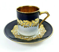 Antique Fraureuth Saxony Demitasse Cup & Saucer Cobalt Blue/Gold Turkish Coffee