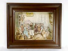Vintage Paper Tole Shadow Box Wall Art, 3D Colonial Harbor Scene, Ready to Hang