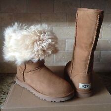 UGG Alexi Classic Tall Chestnut Suede Curly Sheepskin Cuff Boots Size 8 Womens