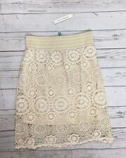 NWT Women's Blue Island Natural Ivory Crochet Skirt-Size S/M