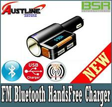 BSR Bluetooth Car Charger With FM Transmitter Cigarette Lighter Plug Passthrou