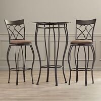 3 Piece Brown Cushion Metal Pub Bistro Dining Set Home Kitchen Furniture Seating