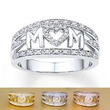 White Topaz 925 Silver Women Mom Gift Wedding Engagement Ring Size 6-10