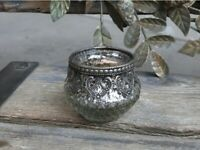Chic Antique Kerzenhalter Kerzenständer Teelichthalter Glas mit Perlenkante H6cm