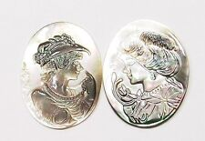 2 of 40x30 mm Mother of Pearl Victorian Woman Cameos with Hats, Multicolored