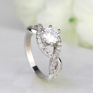 Infinity Round Cut CZ White Gold Silver Women Engagement Ring Promise Ring 115
