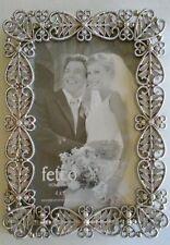 "Metal Picture Photo frame, 4"" x 6"" Filigree Diamond Rhinestones Silvertone"