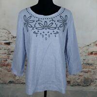 Talbots Sz M Blue White Striped Embroidered Neckline 3/4 Sleeve Cotton Blouse