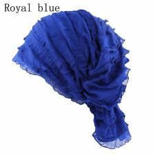 a98c11c095c Fashion Chiffon Ruffle Chemo Hat Women Beanie Scarf Bandana Turban Cap Head  Wrap Royal Blue