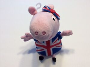 "Ty Peppa Pig Union Jack Stuffed Animal Plush Toy Kids Pretend Play 7"" Toys"
