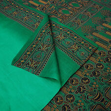 Vintage Saree 100% Pure Silk Woven Green Craft Fabric Ethnic Indian Sari 5 Yard