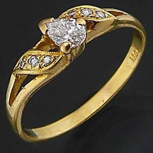 Dynamic Lower set Tear Drop DIAMOND 18k Solid Yellow GOLD RING Mid Sz O