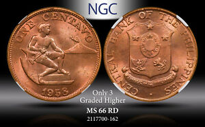 1958 PHILIPPINE 1 CENTAVO NGC MS 66 RD ONLY 3 GRADED HIGHER