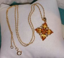 SLV Sadye Vassel 10k yellow gold Citrine flower pendant Necklace