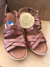Born Lexie Spice Rust Strappy Hi Heel Wedge Sandal 8 NIB