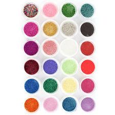 24 Colors Nail Art Mini Beads Balls Pearls Caviar Tips Acrylic UV 3D DIY Decor