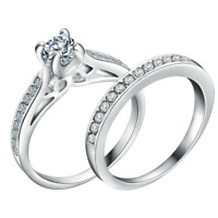 Womens 925 Sterling Silver CZ Crystal Engagement Wedding Ring Band 2 Piece Set