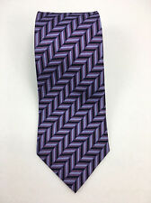Bijoux Terner Silk Neck Tie purple lavender Black Geometric Men's Cravat #X139