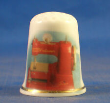 Birchcroft China Thimble --  Vulcan Vintage Sewing Machine - Free Dome Box