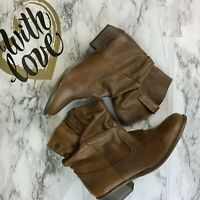 STEVE MADDEN Womens 8.5 Cognac Leather Slouchy Ankle Western Cowboy Boots