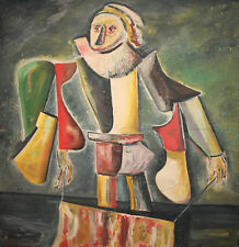 VINTAGE ABSTRACT OIL PAINTING CLOWN PORTRAIT