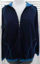 CHICOS HOODED SPA JACKET size 3/14/16 Blue Zipper Long Sleeve Women's NWT