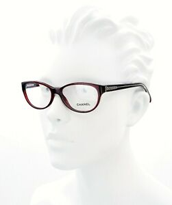 New Chanel CH 3206 c. 539 Clear Bordeaux Eyeglasses RX Frames 54mm Italy