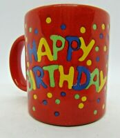 Vintage Waechtersbach W. Germany, Red HAPPY BIRTHDAY MUG with Confetti Details