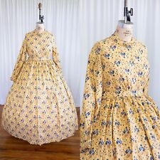 Xxl Plus Yellow and Blue Cotton Civil War Reenacting Dress 1860s Hoop Costume