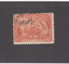 CANADA # 59  F-USED 20cts  1897 QV DIAMOND JUBILEE /VERMILION  CAT VALUE $115