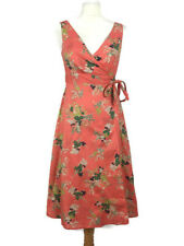 Great Plains Coral Pink Cotton Floral Aline Wrap Summer Holiday Dress Size XS/8