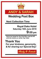 Personalised Royal Mail Post Box Wedding Sign/Insert