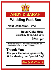 Personalised Royal Mail Post Box Wedding Sign / Insert High Quality Card