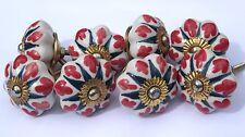 MANOPOLE Ceramica Porcellana Bianco Fiore Stella VERDE CON FOGLIE ROSSO (Ottone) x 8