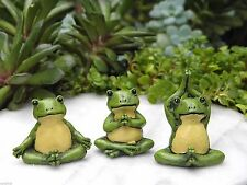 Miniature Dollhouse FAIRY GARDEN Accessories ~ ZEN Set of 3 Yoga Frogs ~ NEW