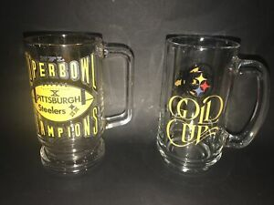 Two Vintage NFL Pttsburgh Steelers Collector Mugs - Super Bowl X and Gold Cup 50