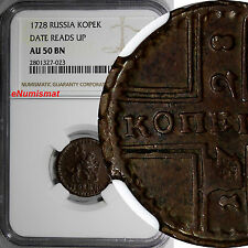 RUSSIA PETER II 1728 Kopek MOSCOW NGC AU50 BN DATE READS UP VERY RARE KM# 185.2