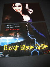 RAZOR BLADE SMILE Wild Looking FEMALE VAMPIRE 2-Piece PROMO POSTER AD from 1999