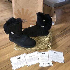 UGG 💕 Bailey Button Bling Black Boots UK Size 5.5 💗Swarovski Crystal Button
