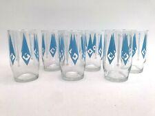 More details for vintage ravenhead mid century modern 6 blue 'chunkies' glasses 1964 design retro