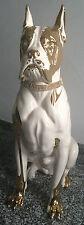 XXL Boxer Chien Céramique 94 cm Fait à la Main Italien Blanc Animal Fort