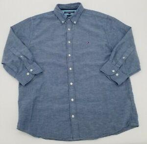 Tommy Hilfiger Button Up Shirt XL Blue 3/4 Sleeve Cotton Linen Mens Casual