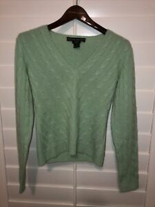 Ralph Lauren Womens Black Label 100% Cashmere Cable Knit Sweater V Neck Green M