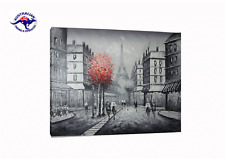OIL PAINTING OF PARIS EIFFEL TOWER STREET FRAMED WITH BLACK AND SILVER LIP FRAME