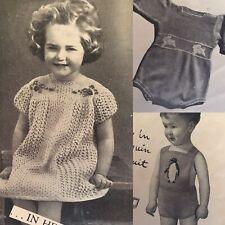 1950s Swan Chick Rabbit Penguin Cherry Knitting Pattern New Idea Children Jumper