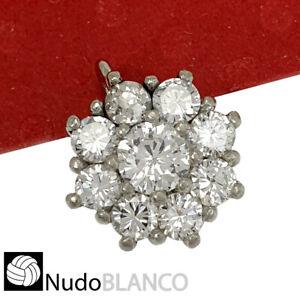 VINTAGE FLOWER PENDANT PLATINUM NATURAL BRILLIANT CUT DIAMONDS